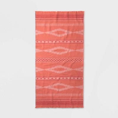 Ikat Diamond Beach Towel Pink - Opalhouse™