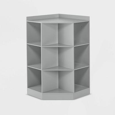 Kids' 6 Cubby with 3 Shelf Corner Cabinet Gray - RiverRidge