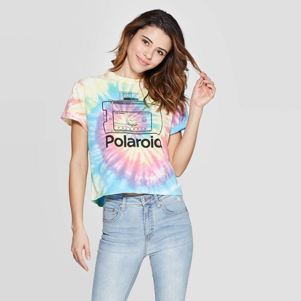 Women's Polaroid Short Sleeve Cropped T-Shirt (Juniors') - Tie Dye L, Multicolored