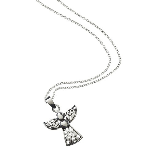 Silver Plated Filigree Angel Pendant Necklace - image 1 of 2