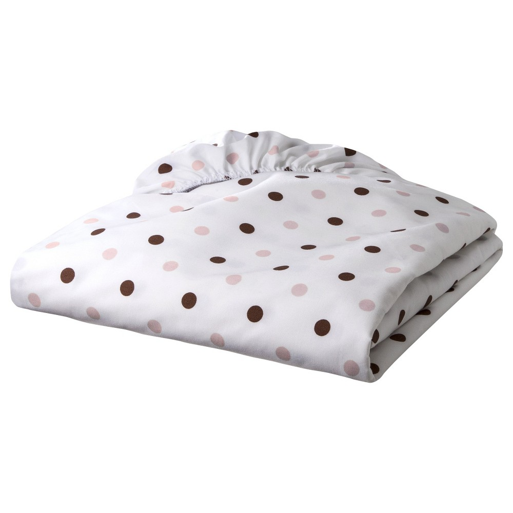Image of TL Care 100% Cotton Percale Fitted Crib Sheet - Pink/Brown Dot