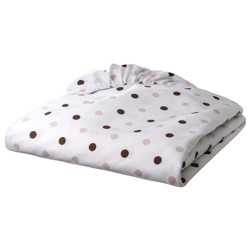 Percale Cotton Fitted Crib Sheet Brn Dot - image 1 of 1