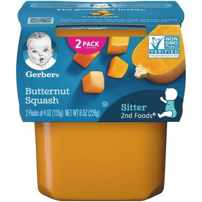 Gerber Sitter 2nd Foods Butternut Squash Baby Meals Tubs - 2ct/4oz Each