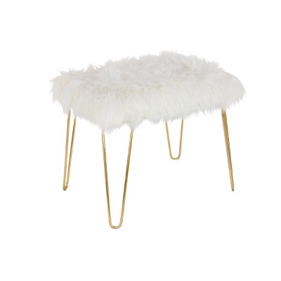 Modern Faux Fur Cushioned Bench Gold - Olivia & May
