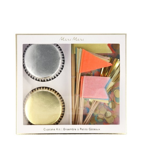 Meri Meri - Neon Confetti Flag Cupcake kit - Baking Cups - 24ct - image 1 of 1