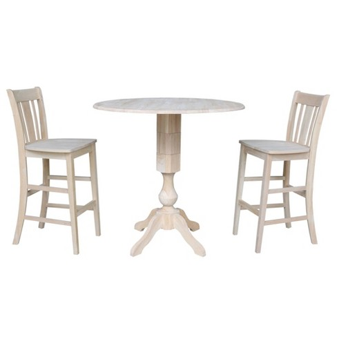 """42.3"""" Mick Round Bar Height Table with Two San Remo Stools Blue - International Concepts - image 1 of 4"""