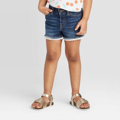 Toddler Girls' Lace Hem Jean Shorts - Cat & Jack™ Dark Wash