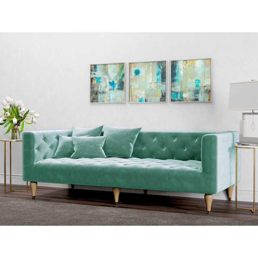 Image of Alice Tufted Velvet Sofa Seafoam - AF Lifestlye