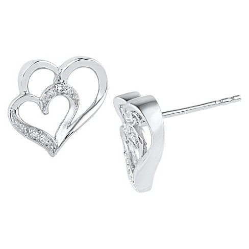 Women's Diamond Accent Prong Set Double Heart Stud Earring in Sterling Silver (IJ-I2-I3) - image 1 of 1