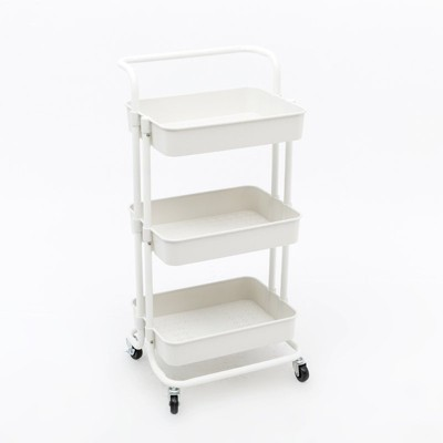 Pemberly Row 3 Tier Rolling Utility Cart with Storage in White