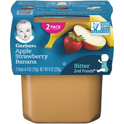 Gerber Sitter 2nd Foods Apple Strawberry Banana Baby Meals - 2ct/4oz Each