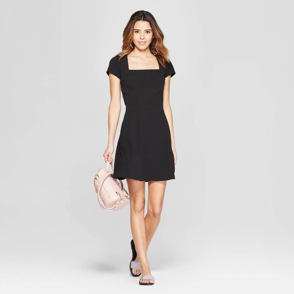 Women's Short Sleeve Square Neck Dress - A New Day Black Xxl