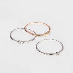 Sterling Silver with Cubic Zirconia Two Toned Modern Multi Shape Stacking Ring Set 3pc - A New Day™