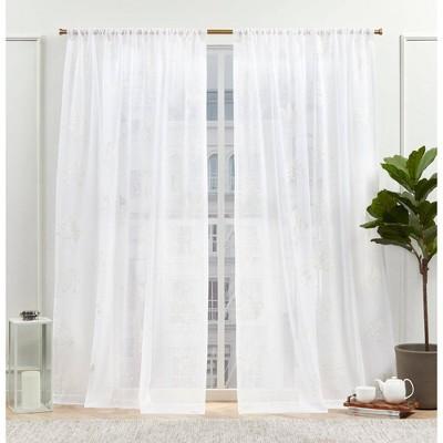 Set of 2 New York Mabel Sheer Rod Pocket Curtain Panels - Nicole Miller
