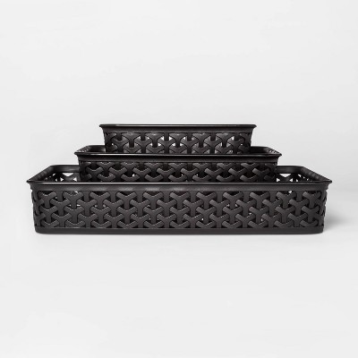 3pk Y-Weave Storage Bins Black 2 x10  - Room Essentials™