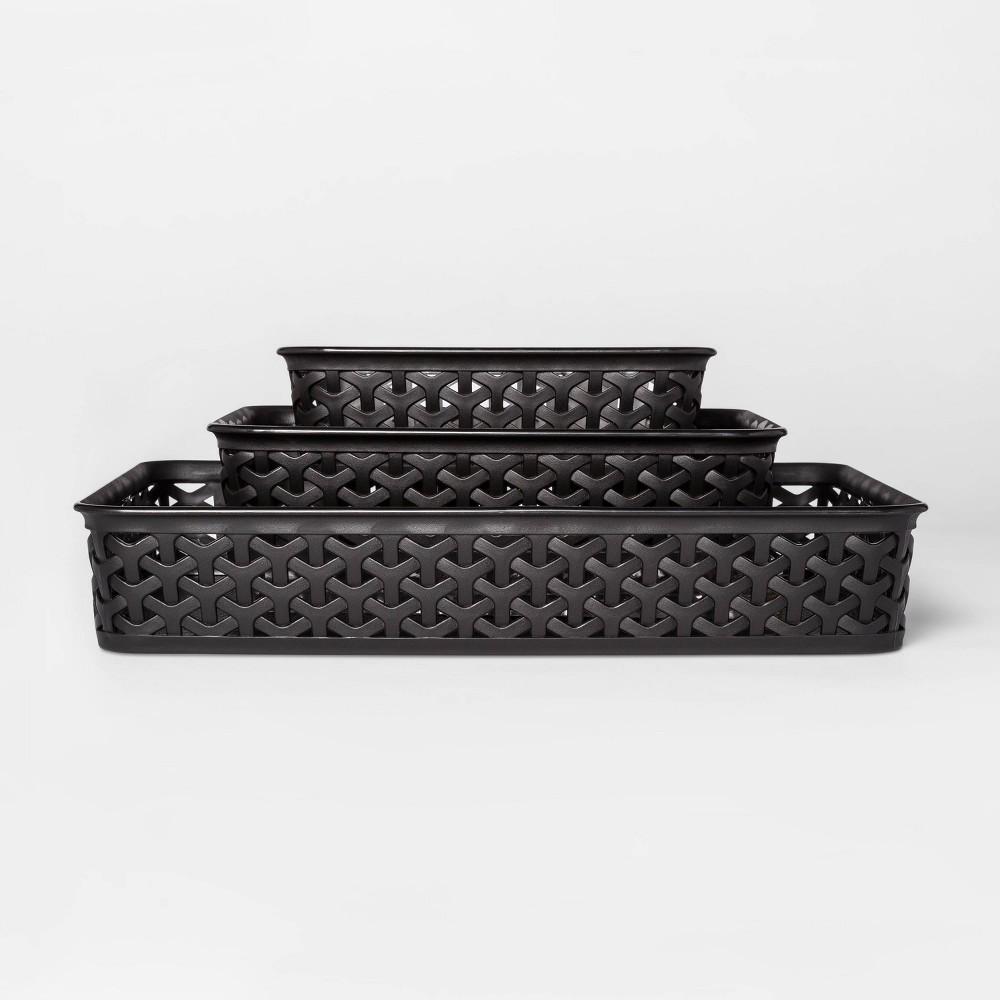 """Image of """"3pk Y-Weave Storage Bins Black 2""""""""x10"""""""" - Room Essentials"""""""