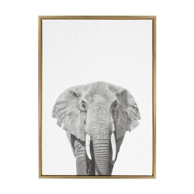 "33""x23"" Sylvie Elephant Animal Print And Portrait By Simon Te Tai Framed Wall Canvas Kate & Laurel"