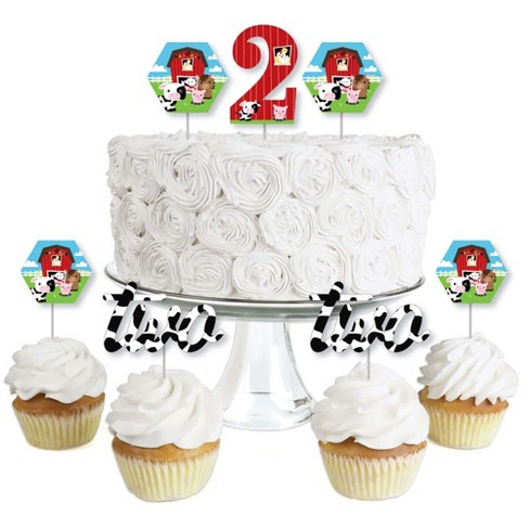 Big Dot of Happiness 2nd Birthday Farm Animals - Dessert Cupcake Toppers - Barnyard Second Birthday Party Clear Treat Picks - Set of 24 - image 1 of 4