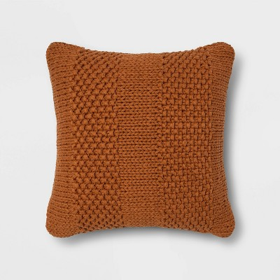 Chunky Patterned Weave Square Throw Pillow Brown - Project 62™