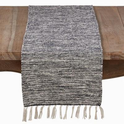 72 x16  Cotton Runner With Tassels And Rug Design Black - Saro Lifestyle