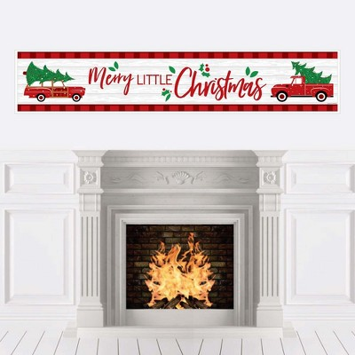 Big Dot of Happiness Merry Little Christmas Tree - Red Truck and Car Christmas Party Decorations Party Banner
