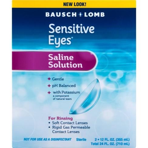 Bausch + Lomb Sensitive Eyes Plus Saline Solution - 2pk/24 fl oz - image 1 of 3