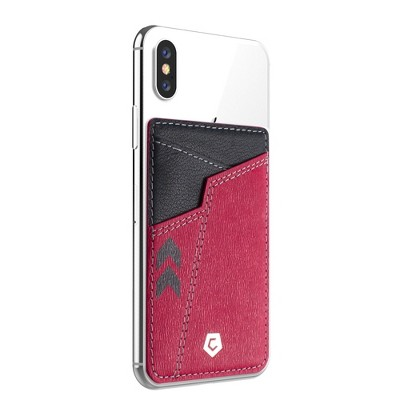Cobble Pro [Genuine Leather] Stick-On Leather Card Holder Wallet Card Holder for Back of Phone, Red & Black