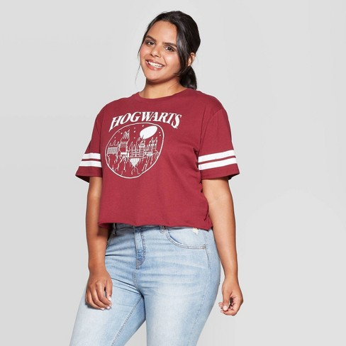 Women's Harry Potter Hogwarts Plus Size Short Sleeve Cropped T-Shirt (Juniors') - Garnet - image 1 of 2