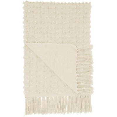 Life Styles Cut Fray Texture Throw Blanket Cream - Mina Victory