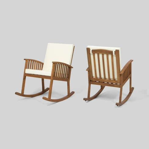 Casa 2pk Acacia Wood Rocking Chair Brown/Cream - Christopher Knight Home - image 1 of 4