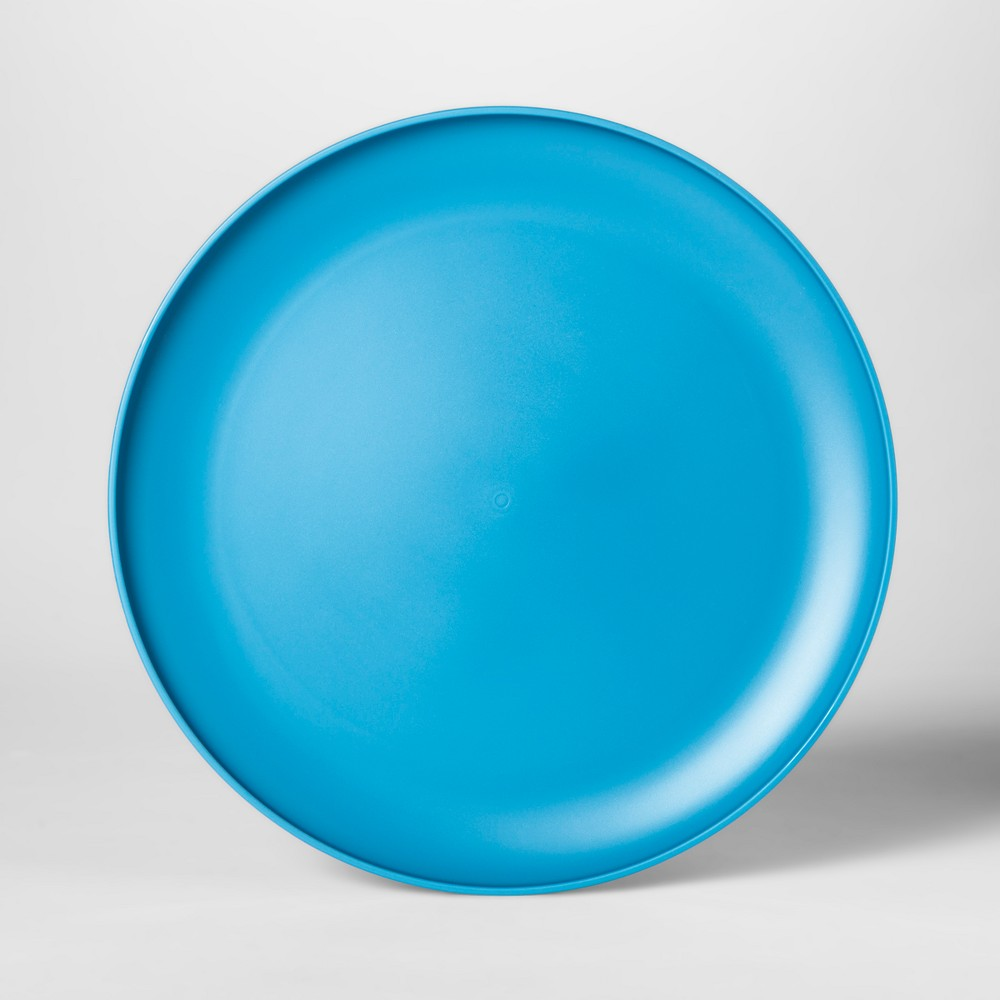 "Image of ""10.5"""" Plastic Dinner Plate Blue - Room Essentials"""