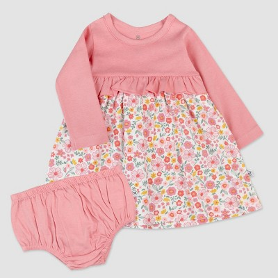 Honest Baby Girls' Organic Cotton Fall Floral Long Sleeve Party Dress - Pink/White 6-9M