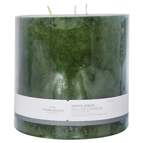 "Mottled Pillar Candle Nordic Spruce 6""x6"" - Threshold™ - image 1 of 1"