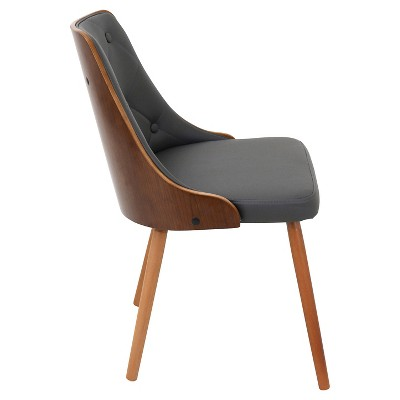 Gianna Mid Century Modern Walnut Upholstered Wood Back Dining Chair Wood/Gray    LumiSource : Target