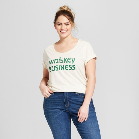 Women's Plus Size St. Patrick's Day Whiskey Business Scoop Neck Short Sleeve Graphic T-Shirt - Grayson Threads - White - image 1 of 2