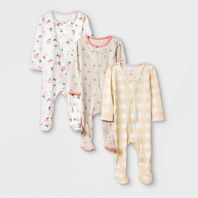 Baby Girls' 3pk Fruit Print Zip-Up Sleep N' Play - Cloud Island™ Yellow/Brown/White 3-6M