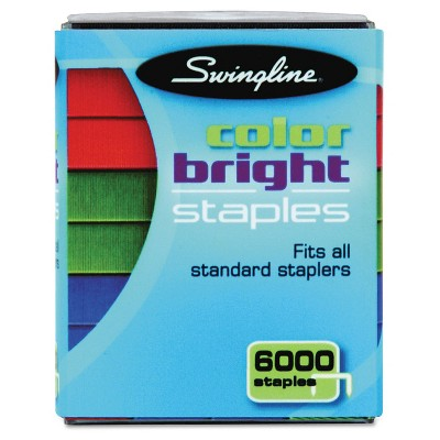 Swingline® Color Bright Staples - Blue/Red/Green (6000 Per Pack)