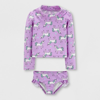 Toddler Girls' 2pc Long Sleeve Unicorn Rash Guard Set - Just One You® made by carter's Purple 12M