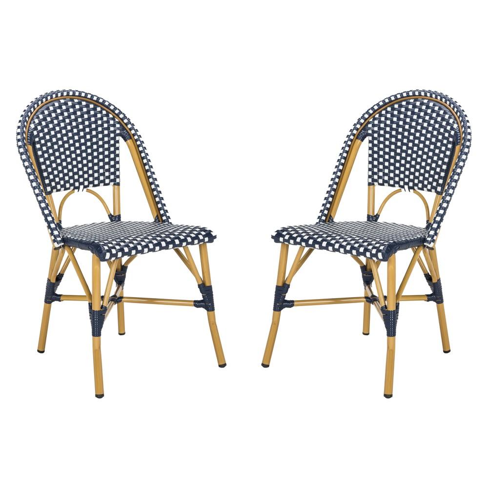 Salcha Indoor/Outdoor French Bistro Stacking Side Chair Navy (Blue)/White - Safavieh