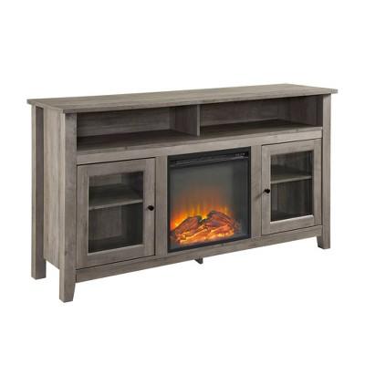 "58"" Transitional Fireplace Glass Wood Tv Stand Gray Wash - Saracina Home"
