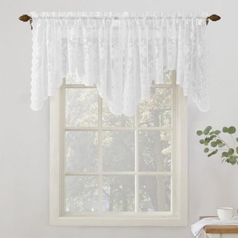 Alison Fl Sheer Lace Rod Pocket Curtain Valance White 58 X32 No 918