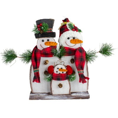 "Northlight 16"" Snowman Family with Plaid Scarves Table Top Christmas Decoration"