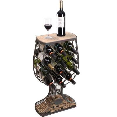 Vintiquewise Vintage Decorative Wooden Metal Goblet Shaped Freestanding Wine Rack with Cork Holder