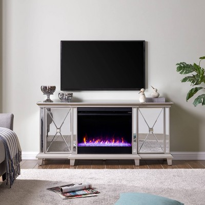 Tappington Mirrored color changing Fireplace Media Console Silver - Aiden Lane