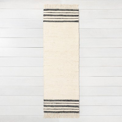 "2'4"" x 7' Charcoal Stripe Jute Runner - Hearth & Hand™ with Magnolia"
