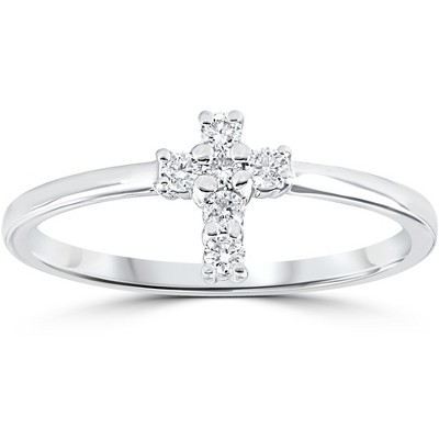 Pompeii3 Diamond Cross Ring 1/6 cttw 10k White Gold