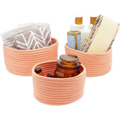 Farmlyn Creek 3-Pack Round Cotton Woven Baskets for Storage, Peach Home Organizers (3 Sizes)