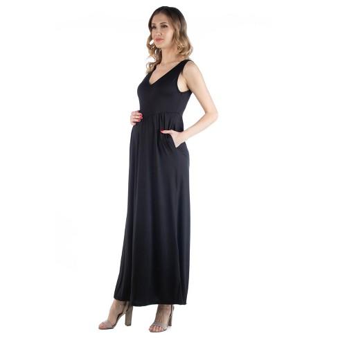24seven Comfort Apparel Women's Maternity Maxi Sleeveless Dress - image 1 of 3