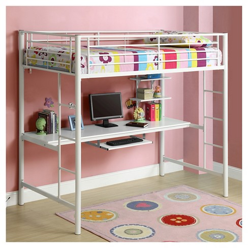 Premium Metal Twin Loft Bed With Wood Workstation White Saracina Home Target