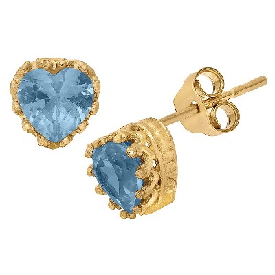 Sterling Silver Heart-cut Gemstone Crown Earrings